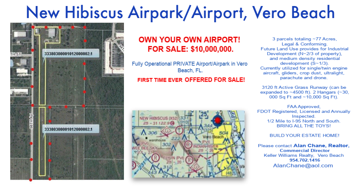 Vero Beach, Airpark/Airport for sale, alan chane commercial real estate